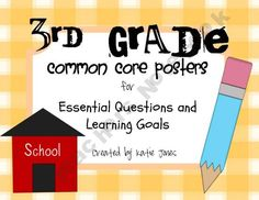 3rd Grade Common Core {Essential Questions & Learning Goals - Marzano}