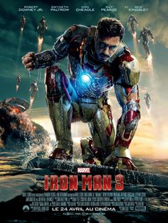 Iron Man 3, l'affiche officiel pour ce 3ème volet, tony Stark apparait avec toutes ses armures, commandés par sa dernière armure Mark. L'aventure continue