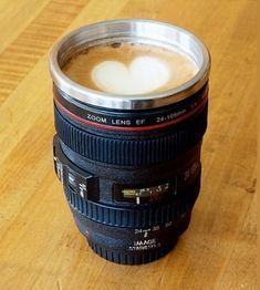 Camera Lens Stainless Steel Coffee Mug - $14.00