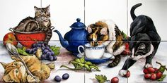 Kitchen Cats Tile Mural