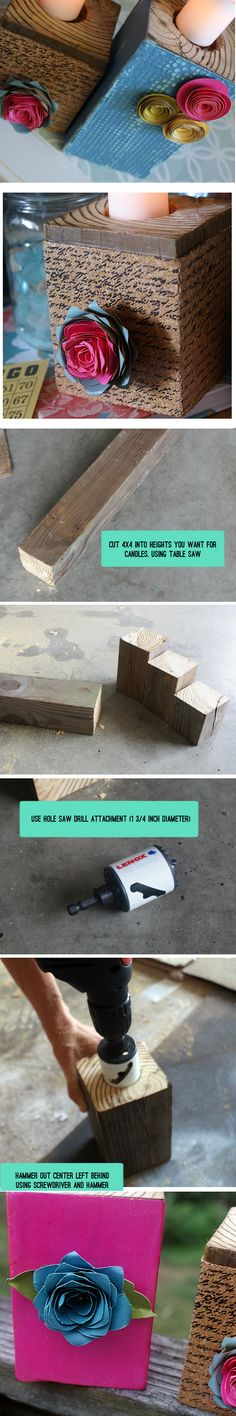 Make these gorgeous candle holders from 4x4 wood, Sizzix embossed paper and die cut flowers with Saved By Love Creations