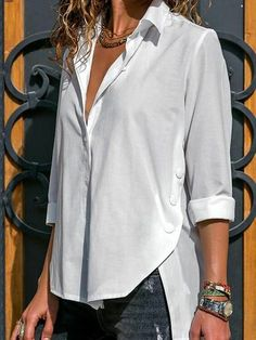 Rogi Autumn Women Long Sleeve Blouse Shirt Sexy V-Neck Blouse Buttons Ladies Shirt Solid Loose Casual White Blouses Blusas Mujer Casual Tops For Women, Blouses For Women, Plus Size Clothing Uk, Blouse Outfit, Mode Style, Shirt Blouses, Chiffon Blouses, Blouse Designs, Shirt Style
