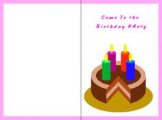 Come to The Birthday Party Printable Invitation