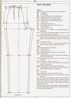 how to draft pants pattern- Joy! Previous pinner: I've been looking for something like this, I lost mine from the stanley school of dressmaking circa 1982 byeasy fitting pant drafting g pant draftEl alfabeto de la costura de alejandro timofeeva la co Pattern Drafting Tutorials, Mens Sewing Patterns, Clothing Patterns, Shirt Patterns, Dress Patterns, Tutorial Sewing, Bodice Pattern, Jacket Pattern, Shirt Collar Pattern