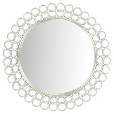 "Round wall mirror in silver with a linked rings frame.  Product: Wall mirrorConstruction Material: Polyurethane and mirrored glassColor: SilverDimensions: 42"" Diameter"
