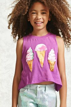 Forever 21 Girls - A soft knit tank top featuring a front trio of ice cream cones graphic design, an allover light acid wash, a ribbed crew neckline, raw-cut dropped armholes, raw-cut hem, and a relaxed silhouette.