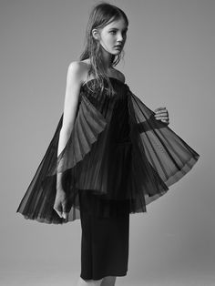 Soft Architectural Fashion - sheer pleated dress with delicate volume; sculptural fashion // David Laport
