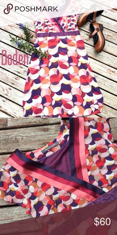Limited Edition Boden Abstract Mod Circle Dress 4 Super cute dress for the summer. US size 4, UK size 8. In gentle pre-worn condition Boden Dresses Midi