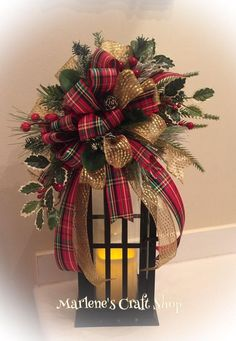Christmas Lantern Swag Red Gold and Green Ribbon Christmas Lantern bow Christmas Tree Topper bow Christmas wreath Bow Lantern Decor by MarlenesCraftShop on Etsy Diy Christmas Tree Topper, Christmas Ribbon, Rustic Christmas, Simple Christmas, Christmas Holidays, Christmas Wreaths, Christmas Crafts, Christmas Ornaments, Plaid Christmas