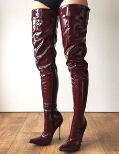 12cm Weapon Silver Metal Stiletto Heel Crotch Hi Show Boot Patent Shin – Refuse to be Usual
