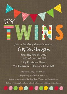 twin baby shower invitation polka dots twins gender reveal sip and see baby sprinkle birthday diaper item shabby chic invitations