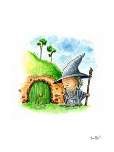 Gandalf the Gray Watercolor Print by BenByrdArtwork on Etsy
