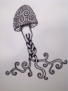 Psychedelic Mushroom Drawings Mushroom octopus tattoo by Jellyfish Tattoo, Octopus Tattoos, Arm Tattoo, Sleeve Tattoos, Tattoo Art, Zentangle, Psychedelic Tattoos, Mushroom Tattoos, Mushroom Drawing