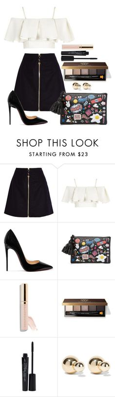 """Untitled #1626"" by fabianarveloc on Polyvore featuring Acne Studios, Topshop, Christian Louboutin, Anya Hindmarch, Beautycounter, Bobbi Brown Cosmetics, Smashbox and Kenneth Jay Lane"