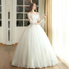 Boat Neck 3/4 Sleeve Princess Wedding Dress - Uniqistic.com