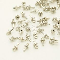 CP-057-OR / 20 Pcs  Tiny Mini Simple Bead Cap with Peg for