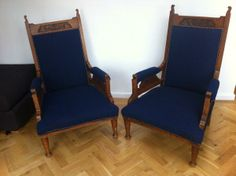How regal do these throne chairs look in our Tweed? By KateAnnaHome
