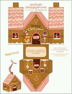 Keksz, aprósütemény, csomagolás, nyomtatható, házikó, karácsony