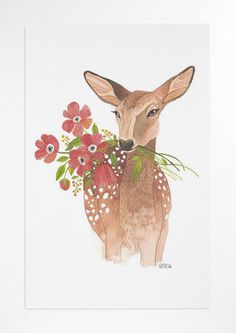 Lovely Deer  poster by oanabefort on Etsy, $30.00