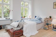 quarto, branco, madeira, baú