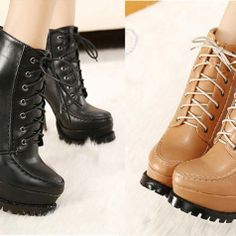 Vintage Women's Short Boots with Lace-Up Stitching