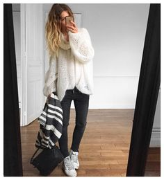 Pull #knitbyme (old) Jean #aninebing foulard #Zara sur @zara sac Igor…