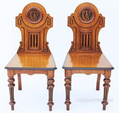 C-145..Pair Victorian 19C Gothic Aesthetic oak hall chairs