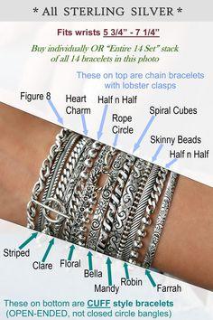 Gift for her 925K Sterling Silver Bracelet Gift for Her Bracelet with Three Colorized Spiral Charm Silver Bracelet