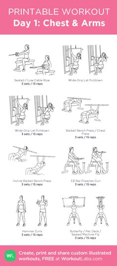 Chest & Arms: my visual workout created at Chest And Arm Workout, Arm Day Workout, Chest Workout Women, Arm Workouts At Home, Chest Workouts, Woman Workout, Fat Workout, Gym Workouts, Thursday Workout