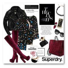 """""""The Cover Up – Jackets by Superdry: Rock Chic"""" by bonadea007 ❤ liked on Polyvore featuring Superdry, Alice + Olivia, Jeffrey Campbell, Clare V., Le Specs, Design Lab, Elizabeth Arden, STELLA McCARTNEY, NARS Cosmetics and Luminarc"""
