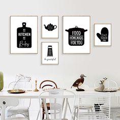 Modern Kitchen Wall Decor, Kitchen Art Prints, Kitchen Posters, Kitchen Wall Art, White Wall Decor, Wall Art Decor, Canvas Wall Art, Wall Art Prints, Canvas Poster