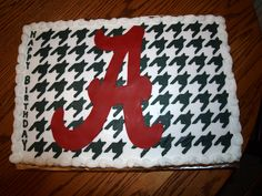 """Houndstooth cake with buttercream frosting and fondant """"A"""""""