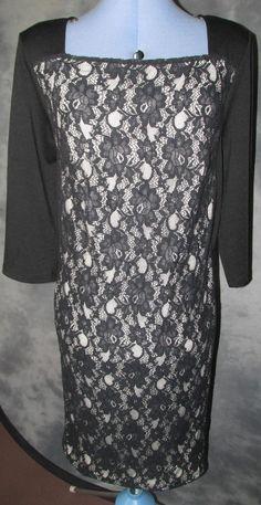 George,ladies,size 18,black,3/4 sleeved,square neckline,knee lth,formal,Dress