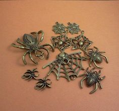 bronze spider charm jewelry supply insect, bug supplies