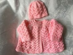 Hand Knitted Baby Girls  Matinee Cardigan and Hat. £10.49