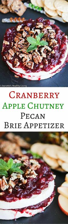 Cranberry Apple Chutney Pecan Brie Appetizer - this elegant appetizer is perfect for the Christmas holiday! Cranberry Recipes, Apple Recipes, Raw Food Recipes, Holiday Recipes, Snack Recipes, Christmas Recipes, Drink Recipes, Holiday Ideas, Brie Appetizer