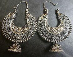 Vintage Antique Silver Plated Chand Bali Half Circle Indian Earrings Jhumka Set/