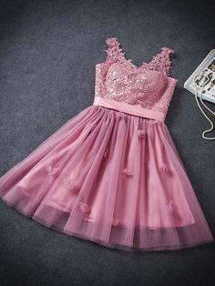 2018 Short Tutu Prom Homecoming Dress Pink Lace Flowers Embroidery Stitching Mesh Bridesmaid Bandage Mini Gown Dress - WSDear.com