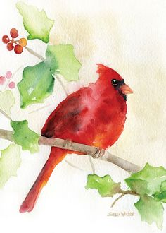 "Cardinal and Holly Watercolor Christmas card set of 10. These 5""x7"" greeting cards of my original watercolor painting are printed on textured watercolor paper that come with matching envelopes The ins"