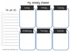 20 different weekly planners that you can print without registration. School Planner, School Calendar, Kids Calendar, Calendar Ideas, Weekly Meal Planner Template, Weekly Planner Printable, Calendar Printable, Planner Sheets, Planner Pages
