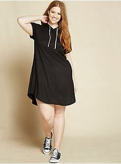 "We haven't been tested or anything, but this dress basically confirms that we're geniuses. The black knit t-shirt dress is as comfy as...well, an oversize t-shirt (like one you can sleep in) with a pullover fit. The adjustable drawstring hoodie keeps you leading that lazy girl life.<div><br></div><div><b>Model is 5'9"", size 1<br></b><div><div><ul><li style=""list-style-position: inside !important; list-style-type: disc !important"">Size 1 measures 37 1/2"" from shoulder</li><li styl..."