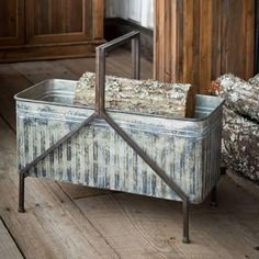 """Embossed metal pattern on sides, with metal feet & handle. 25"""" x 12.25"""" x 22"""""""