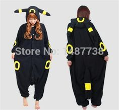 Adult Anime Pokemon Cosplay Costume Black Pikachu Umbreon Onesie Unisex Pajamas Party For Women Man