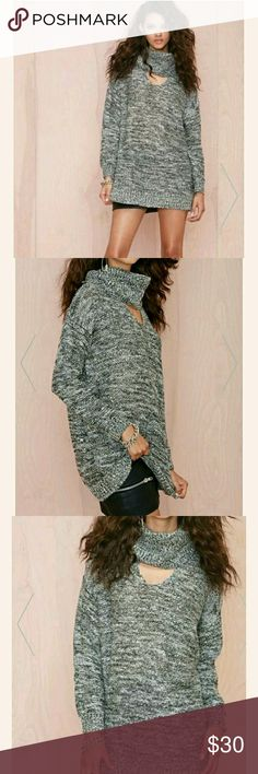 Grey Oversized sweater Medium but can also fit a large  Oversized baggy fit Some days lovin BOUGHT FROM NASTY GAL  GREY WITH A SPRINKLE OF CLEAR SEQUINS  Keyhole chest like choker collar top Long knit sweater Turtleneck   Worn only  3 times like new Nasty Gal Tops