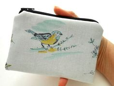 Paloma Birds Zipper Pouch Little Padded Coin Purse ECO Friendly by JPATPURSES, $9.00