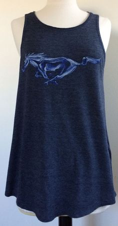 Newly listed in our eBay store.  Just click on this to see the listing. Really CUTE!  Lucky Brand W's Mustang Horse Tank 7WDG108 Sz L Denim Blue w 2 Logos $29.50 NWT #LuckyBrand #Tank #Casual
