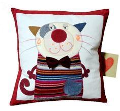 fun cat cushion pillow Funny Pillows, Baby Pillows, Kids Pillows, Applique Cushions, Sewing Pillows, Stenciled Pillows, Decorative Pillows, Cat Cushion, Cushion Pillow