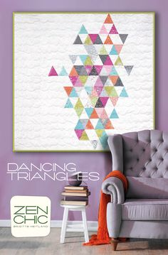 Download a PDF of DANCING TRIANGLES, a modern Zen Chic quilt pattern featuring her newest fabric collection FLOW. The pattern make use of 2 Charm Packs and there is a trick to cut these triangles without any special triangle ruler.