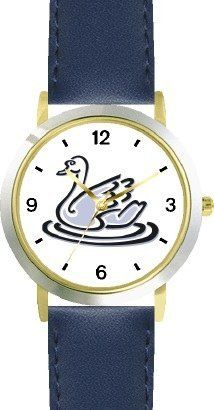 Swan No.2 - Bird Animal - WATCHBUDDY® DELUXE TWO-TONE THEME WATCH - Arabic Numbers - Blue Leather Strap-Size-Children's Size-Small ( Boy's Size & Girl's Size ) WatchBuddy. $49.95. Save 38% Off!