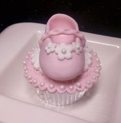 Its a girl Cupcake ~! Baptism Cookies, Baby Shower Cupcakes, Fun Cupcakes, Shower Cakes, Cupcake Cakes, Baby Cupcake, Fondant Baby, Baby Cookies, Baby Shower Deco
